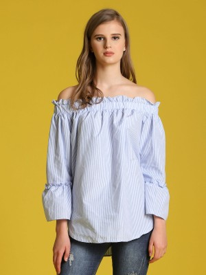 Off-Shoulder Stripes Bell Top