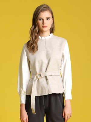 Long Sleeve High-Neck Woollen Top With Belt