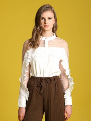 Sheer Frill Long Sleeveless Top
