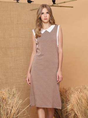 Stripes Sleeveless Wollen Dress