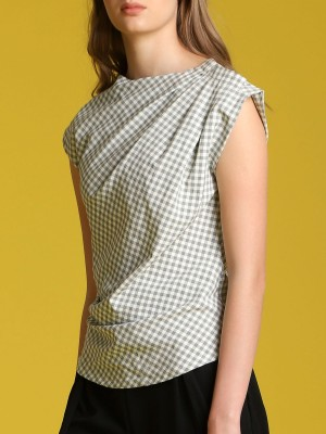 Gingham Asymetric Top