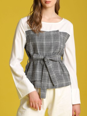 Two Tones Checkered Long Sleeveless Top