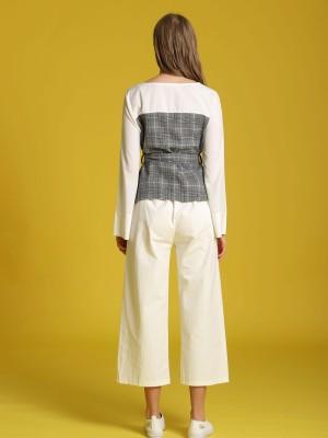 Two Tones Checkered Long Sleeveless Top