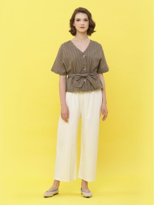 Waist Pull Straight Cut Oversized Pants