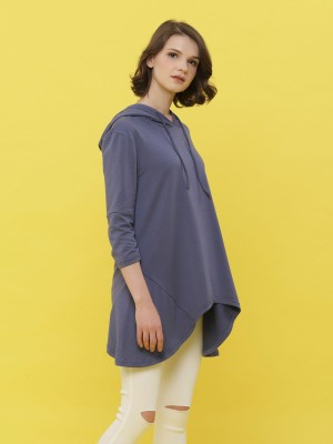 Long Sleeveless Asymetric Hoodie Top