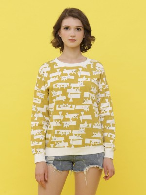 Cat Printed Long Sleeveless Sweat Top