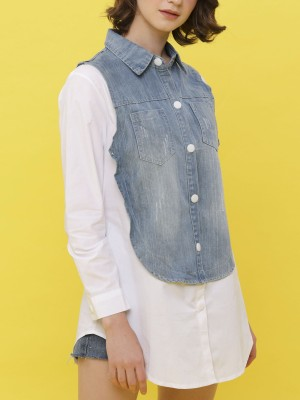Two Pocket Denim Long Sleeveless Two Tones