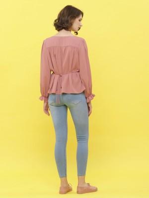 Button Up Long Sleeveless Blouse