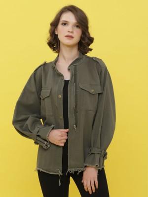 Unfinished Buckled-Sleeves Jacket