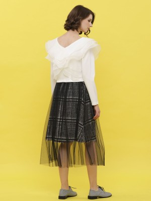 Checkered Tulle Layered Midi Skirt