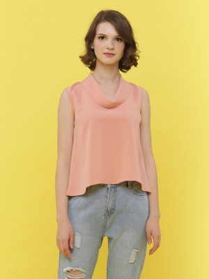 Folded Scoop Neck Sleeveless Top