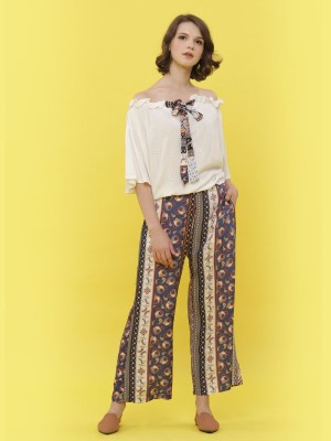 2 Pcs Bohem Print Pants With Embroidered Top