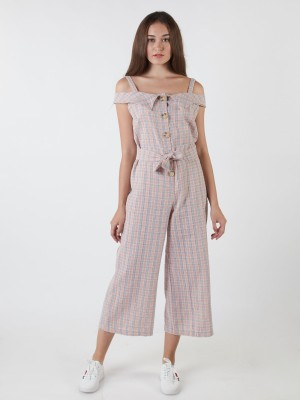 Checkered Button-Up Jumpsuit