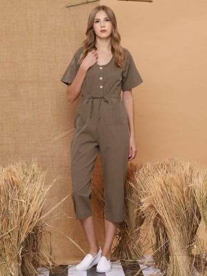 Sleeveless Drawstring Button-Up Jumpsuit