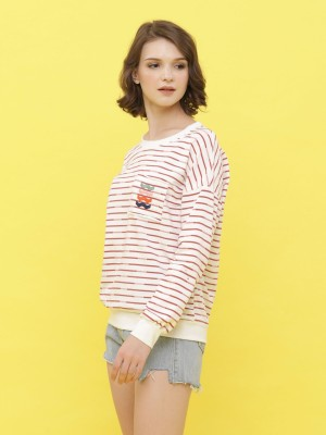 Stripes Long Sleeveless  Sweat Top