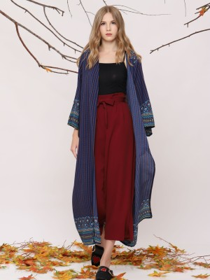Maxi Printed Open Cardigan