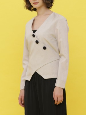 Asymetric Button-Up Blazer