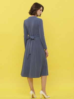 Metallic Upper Wrap-Tied Long Sleeveless Long Dress