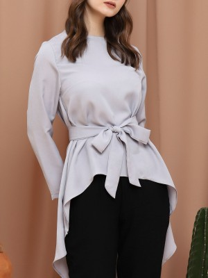Asymetric Long Sleeveless Waist-Tie Tunic