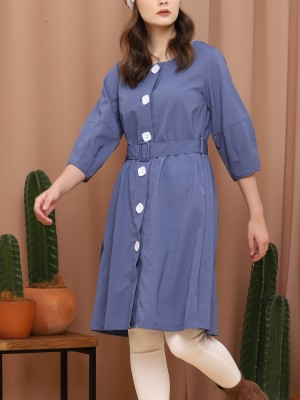 Big Button-Up Waist-Tie Dress