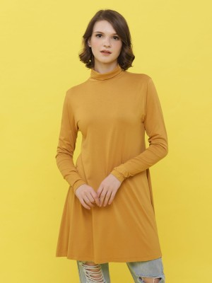 Turtle Neck Long Sleeveless Shift Dress