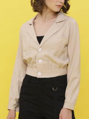 Triple Buttons Wide Collar Long Sleeveless  Top