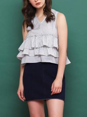 Drawstring Denim Mini Skirt