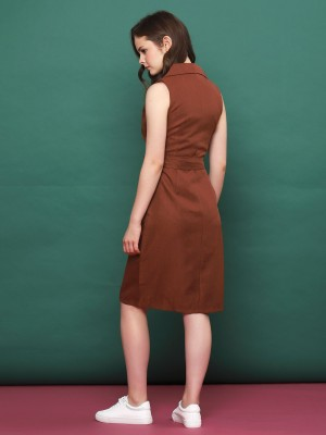 Sleeveless Cross Collar Dress