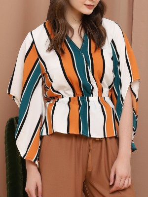 Stripes Flare Sleeves V Neck Top