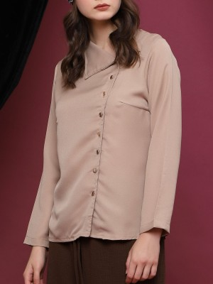 Drop Collar Gold Buttons Long Sleeve Top