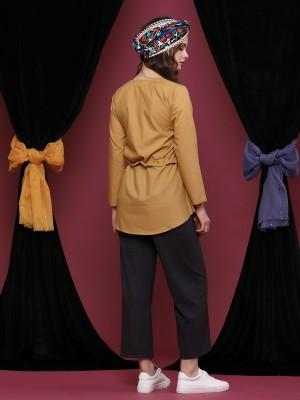 Long Sleeve Drawstring Tunic Top