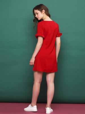 Short Ruffle Sleeves Button Up Dress
