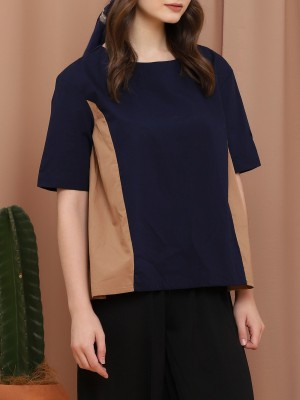 Two-Tones Sleeve Sleeveless Top With Belt