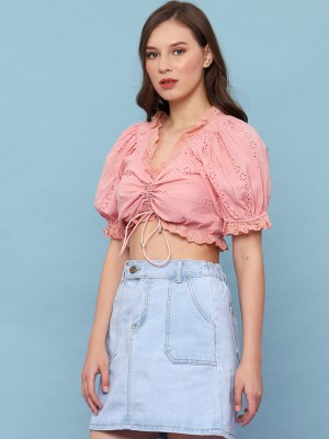 Crop Embroidered Middle Drawstring