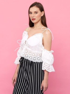 Embroidered Drawstring Tied Crop Top