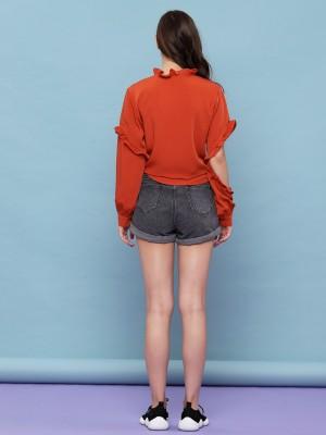 Ruffle Sleeve One Side Reveal Elbow Shirt