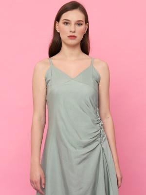 Waist Runched Sleeveless Dress