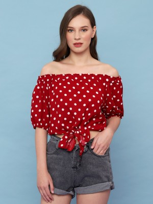 YOUTH Dotty Off Shoulder Crop Top