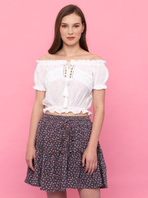 Youth Flower Print Mini Skirt