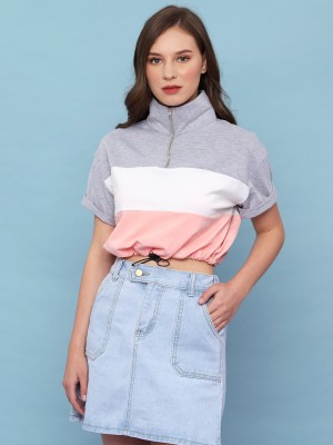 Youth 3Tones Zip Up Sweet Crop Top