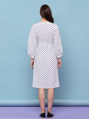 Dots V Neck Dress