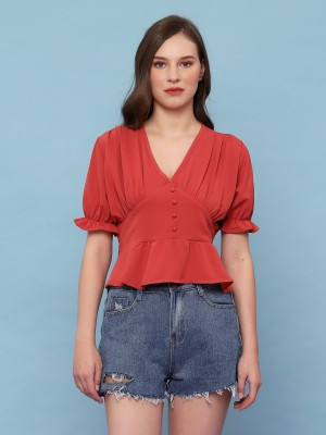 V-Neck Runched Sleeve Crop Top