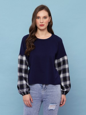 Plaid sleeves sweatshirt