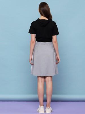 Half Pleated 2 Tones Flare Skirt