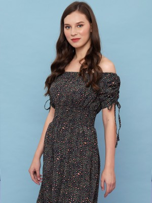 Off Shoulder Wilderness Print Dress