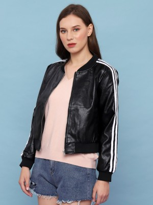 Synthetic Leather White Sleeves Lining Bomber Jacket
