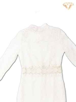 Waist Cut Off long Sleeve Full Laces Dress