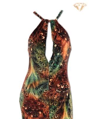Cosmic Neck-Tie Velvety Night Dress