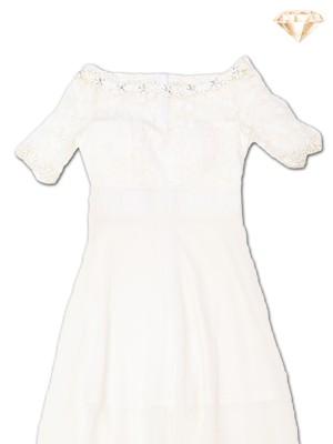 Upper Lace Diamante Neck Maxi Dress