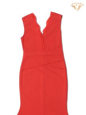 Sleeveless Deep V Lace Maxi Dress